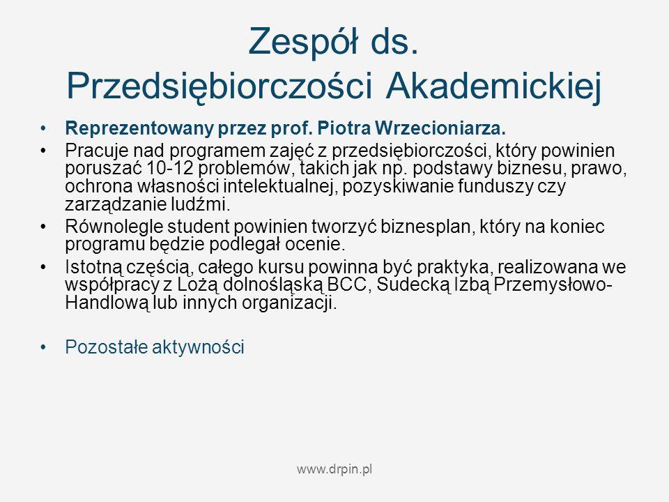 www.drpin.pl Zespół ds. Przedsiębiorczości Akademickiej Reprezentowany przez prof. Piotra Wrzecioniarza. Pracuje nad programem zajęć z przedsiębiorczo