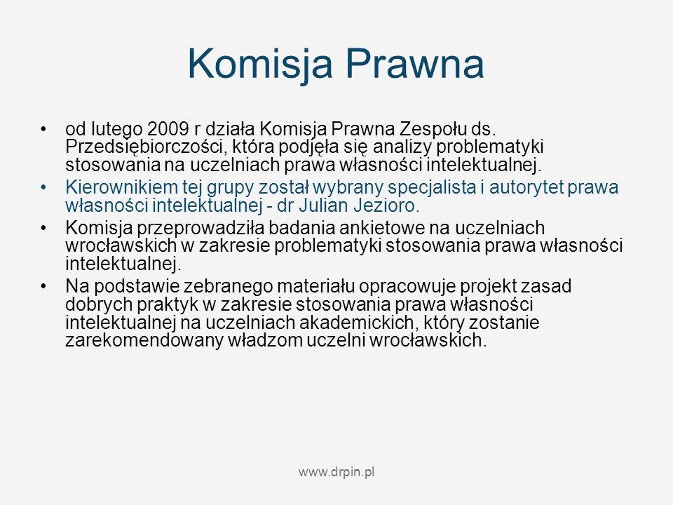 www.drpin.pl Komisja Prawna od lutego 2009 r działa Komisja Prawna Zespołu ds. Przedsiębiorczości, która podjęła się analizy problematyki stosowania n