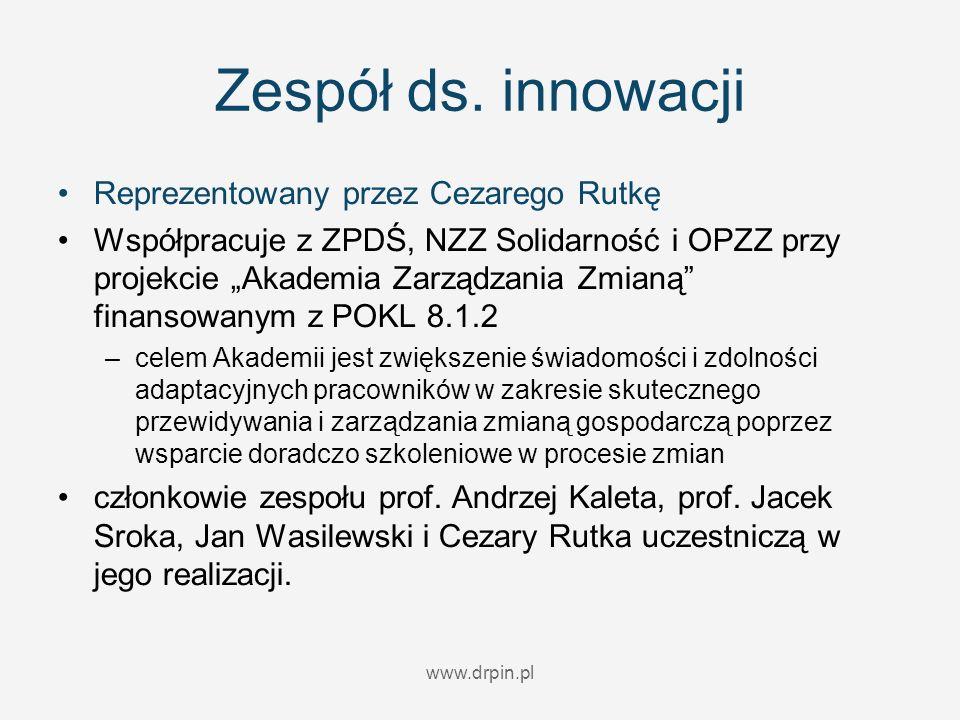 www.drpin.pl Zespół ds. innowacji Reprezentowany przez Cezarego Rutkę Współpracuje z ZPDŚ, NZZ Solidarność i OPZZ przy projekcie Akademia Zarządzania
