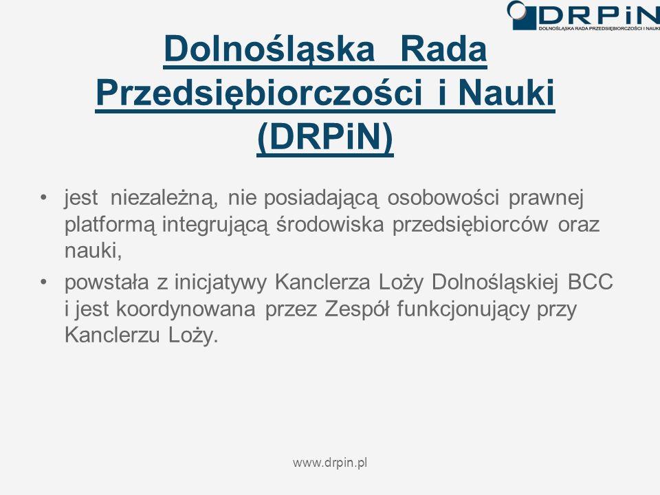 www.drpin.pl Dolnośląska Rada Przedsiębiorczości i Nauki (DRPiN) jest niezależną, nie posiadającą osobowości prawnej platformą integrującą środowiska przedsiębiorców oraz nauki, powstała z inicjatywy Kanclerza Loży Dolnośląskiej BCC i jest koordynowana przez Zespół funkcjonujący przy Kanclerzu Loży.