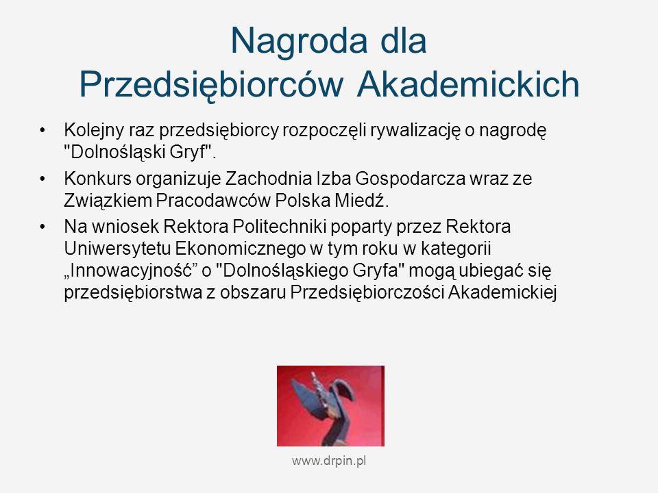 www.drpin.pl Nagroda dla Przedsiębiorców Akademickich Kolejny raz przedsiębiorcy rozpoczęli rywalizację o nagrodę