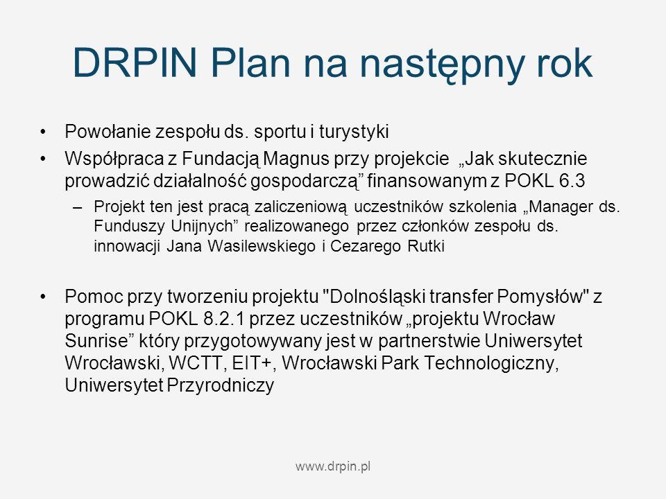 www.drpin.pl DRPIN Plan na następny rok Powołanie zespołu ds. sportu i turystyki Współpraca z Fundacją Magnus przy projekcie Jak skutecznie prowadzić