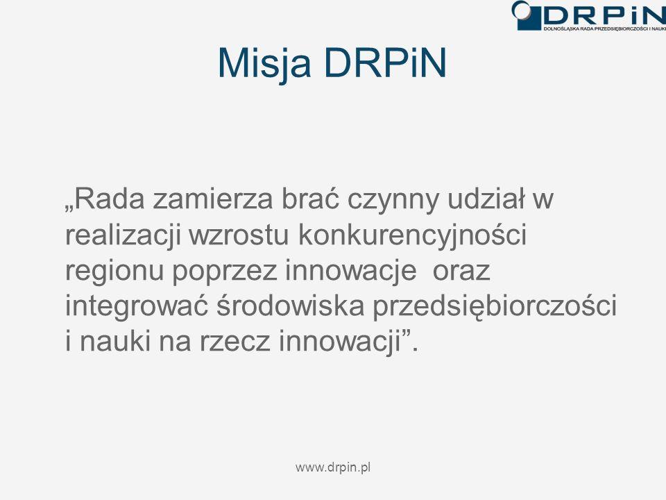 www.drpin.pl Misja DRPiN Rada zamierza brać czynny udział w realizacji wzrostu konkurencyjności regionu poprzez innowacje oraz integrować środowiska p
