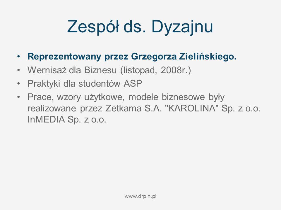 www.drpin.pl Zespół ds. Dyzajnu Reprezentowany przez Grzegorza Zielińskiego. Wernisaż dla Biznesu (listopad, 2008r.) Praktyki dla studentów ASP Prace,