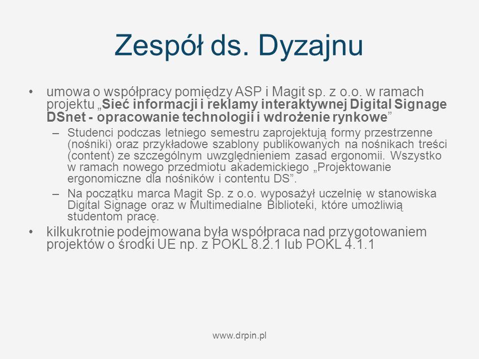 www.drpin.pl Zespół ds. Dyzajnu umowa o współpracy pomiędzy ASP i Magit sp. z o.o. w ramach projektu Sieć informacji i reklamy interaktywnej Digital S