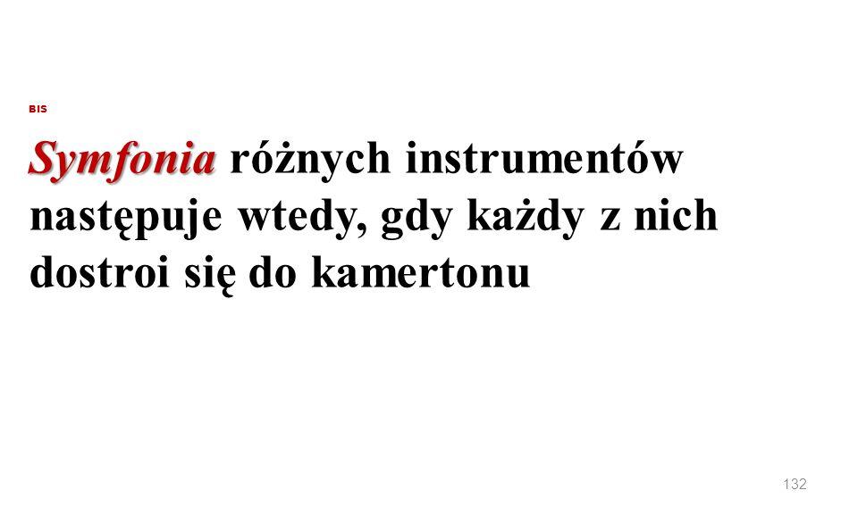 BIS Symfonia Symfonia różnych instrumentów następuje wtedy, gdy każdy z nich dostroi się do kamertonu 132