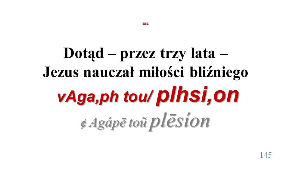 BIS Dotąd – przez trzy lata – Jezus nauczał miłości bliźniego vAga,ph tou/ plhsi,on vAga,ph tou/ plhsi,on ¢ Agápē toũ plēsíon 145