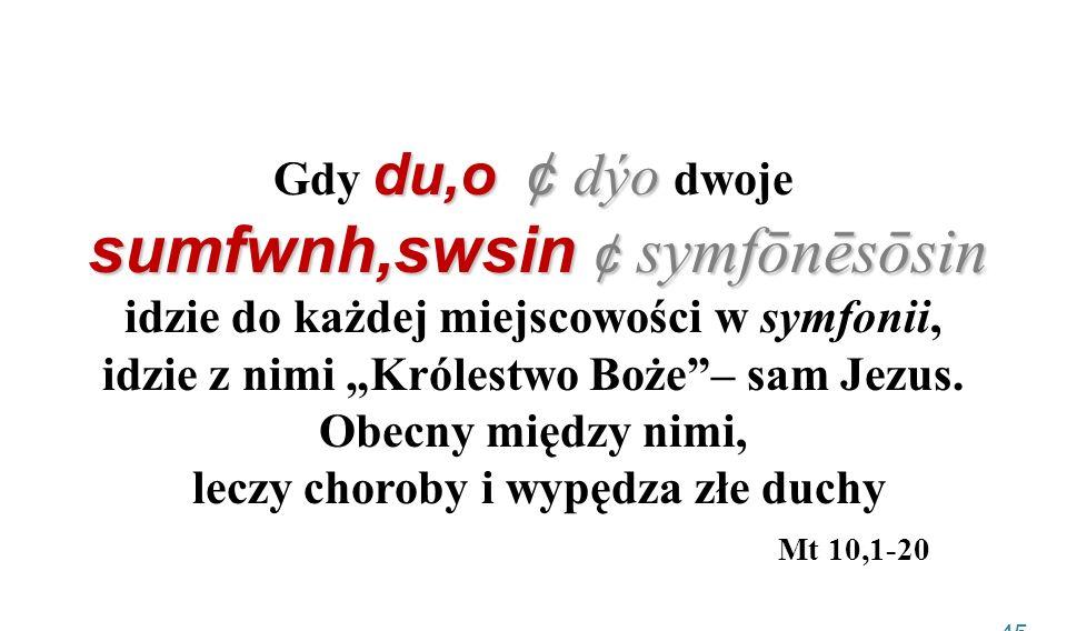 du,o ¢ dýo sumfwnh,swsin ¢ symfōnēsōsin Gdy du,o ¢ dýo dwoje sumfwnh,swsin ¢ symfōnēsōsin idzie do każdej miejscowości w symfonii, idzie z nimi Króles