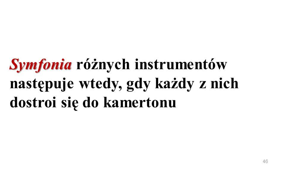 Symfonia Symfonia różnych instrumentów następuje wtedy, gdy każdy z nich dostroi się do kamertonu 46