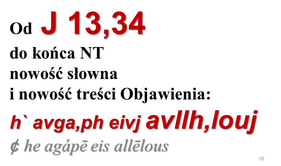 J 13,34 h` avga,ph eivj avllh,louj ¢ he agápē eis allēlous Od J 13,34 do końca NT nowość słowna i nowość treści Objawienia: h` avga,ph eivj avllh,louj