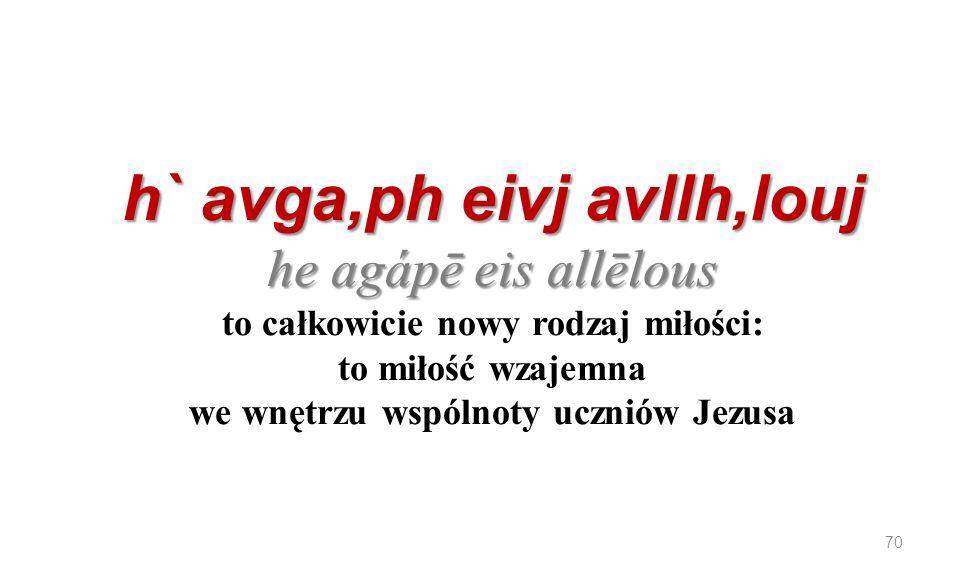 h` avga,ph eivj avllh,louj he agápē eis allēlous h` avga,ph eivj avllh,louj he agápē eis allēlous to całkowicie nowy rodzaj miłości: to miłość wzajemn