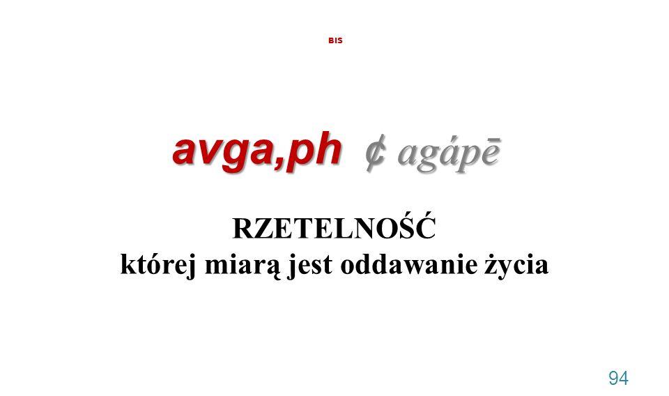 avga,ph ¢ agápē BIS avga,ph ¢ agápē RZETELNOŚĆ której miarą jest oddawanie życia 94