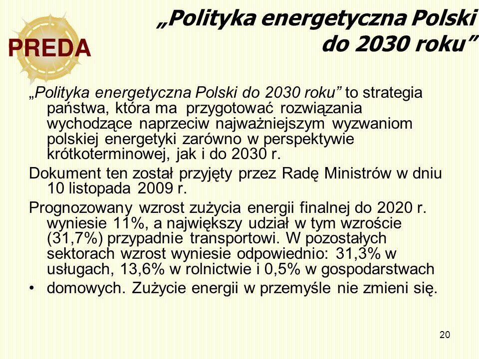 20 Polityka energetyczna Polski do 2030 roku Polityka energetyczna Polski do 2030 roku to strategia państwa, która ma przygotować rozwiązania wychodzą