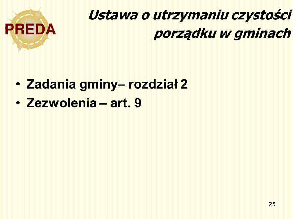 25 Ustawa o utrzymaniu czystości porządku w gminach Zadania gminy– rozdział 2 Zezwolenia – art. 9