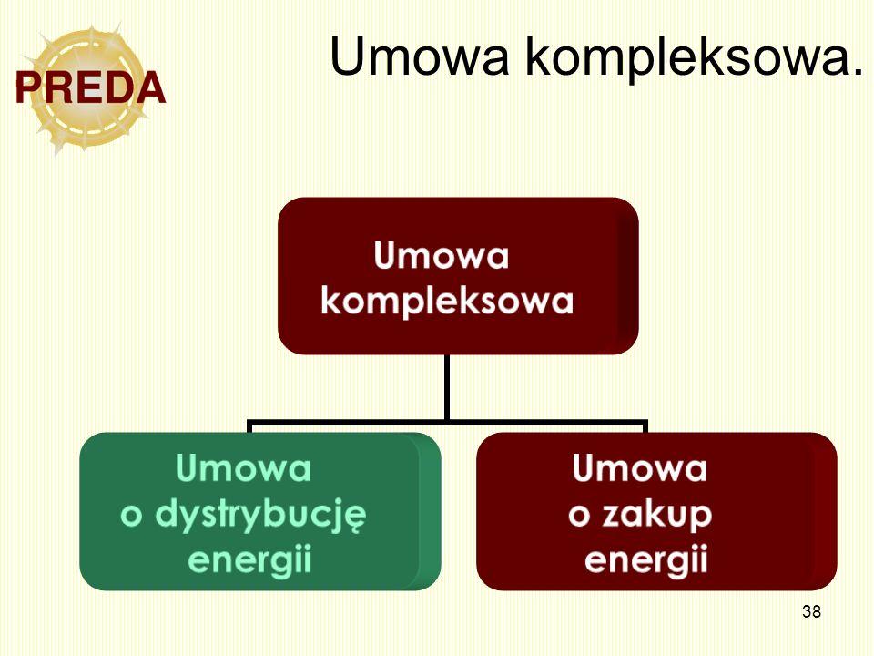 38 Umowa kompleksowa. Umowa kompleksowa Umowa o dystrybucję energii Umowa o zakup energii
