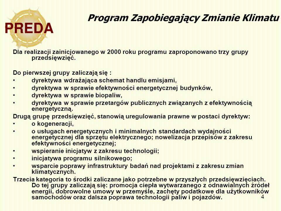 4 Program Zapobiegający Zmianie Klimatu Dla realizacji zainicjowanego w 2000 roku programu zaproponowano trzy grupy przedsięwzięć. Do pierwszej grupy