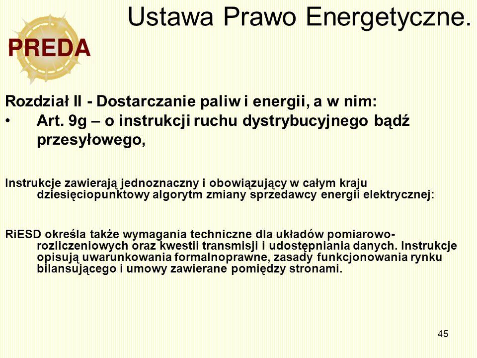 45 Ustawa Prawo Energetyczne. Rozdział II - Dostarczanie paliw i energii, a w nim: Art. 9g – o instrukcji ruchu dystrybucyjnego bądź przesyłowego, Ins