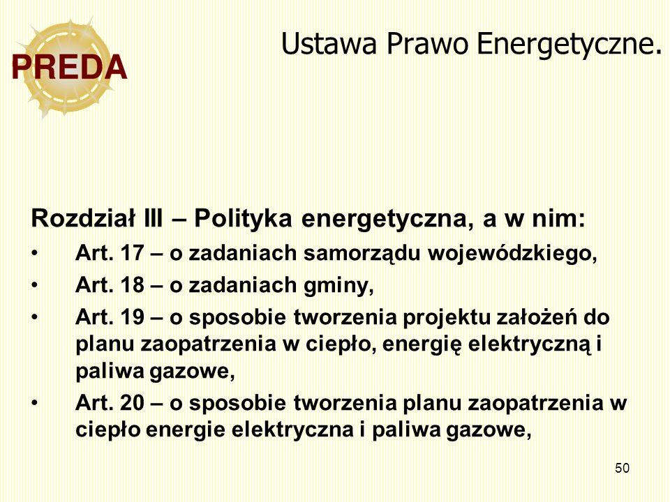 50 Ustawa Prawo Energetyczne. Rozdział III – Polityka energetyczna, a w nim: Art. 17 – o zadaniach samorządu wojewódzkiego, Art. 18 – o zadaniach gmin