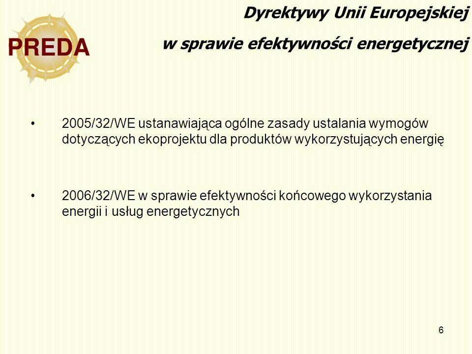 6 Dyrektywy Unii Europejskiej w sprawie efektywności energetycznej 2005/32/WE ustanawiająca ogólne zasady ustalania wymogów dotyczących ekoprojektu dl