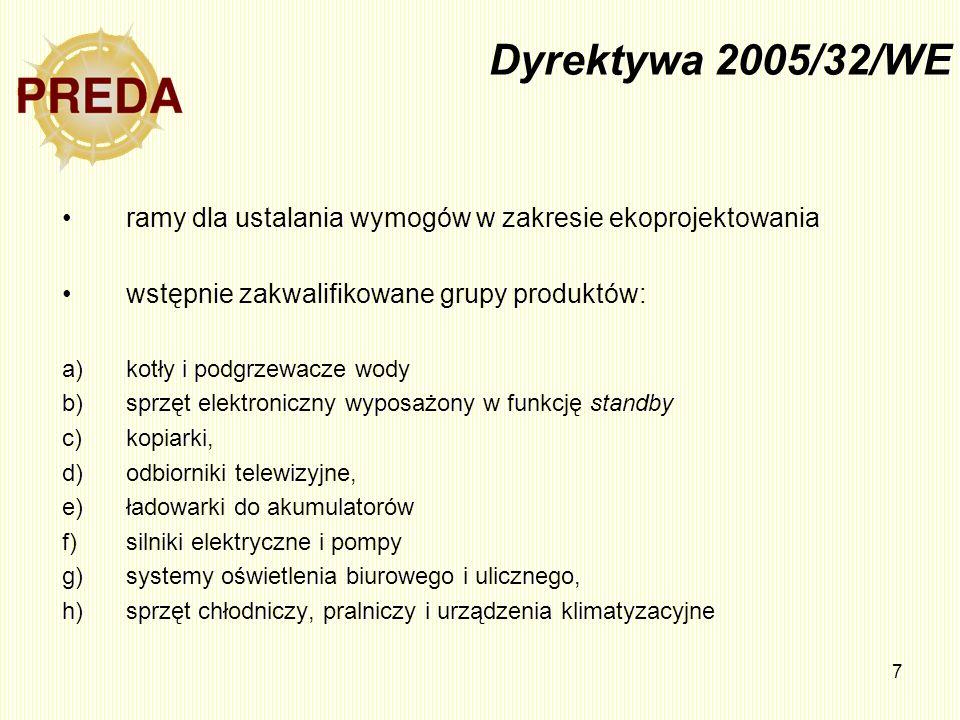 7 Dyrektywa 2005/32/WE ramy dla ustalania wymogów w zakresie ekoprojektowania wstępnie zakwalifikowane grupy produktów: a)kotły i podgrzewacze wody b)