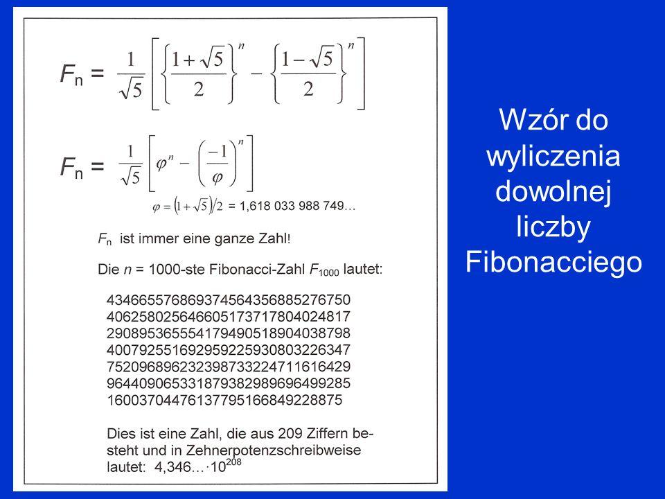 Wzór do wyliczenia dowolnej liczby Fibonacciego