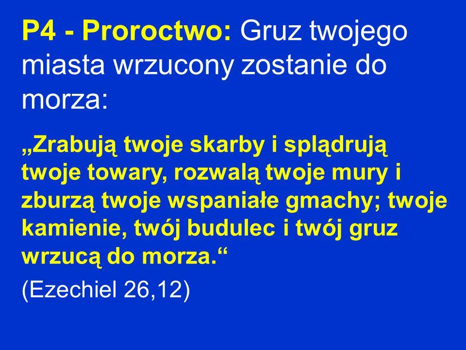 P4 - Proroctwo: Gruz twojego miasta wrzucony zostanie do morza: Zrabują twoje skarby i splądrują twoje towary, rozwalą twoje mury i zburzą twoje wspan