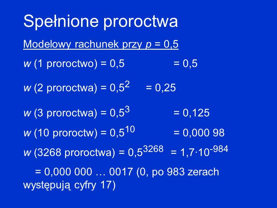 Spełnione proroctwa Modelowy rachunek przy p = 0,5 w (1 proroctwo) = 0,5 = 0,5 w (2 proroctwa) = 0,5 2 = 0,25 w (3 proroctwa) = 0,5 3 = 0,125 w (10 pr