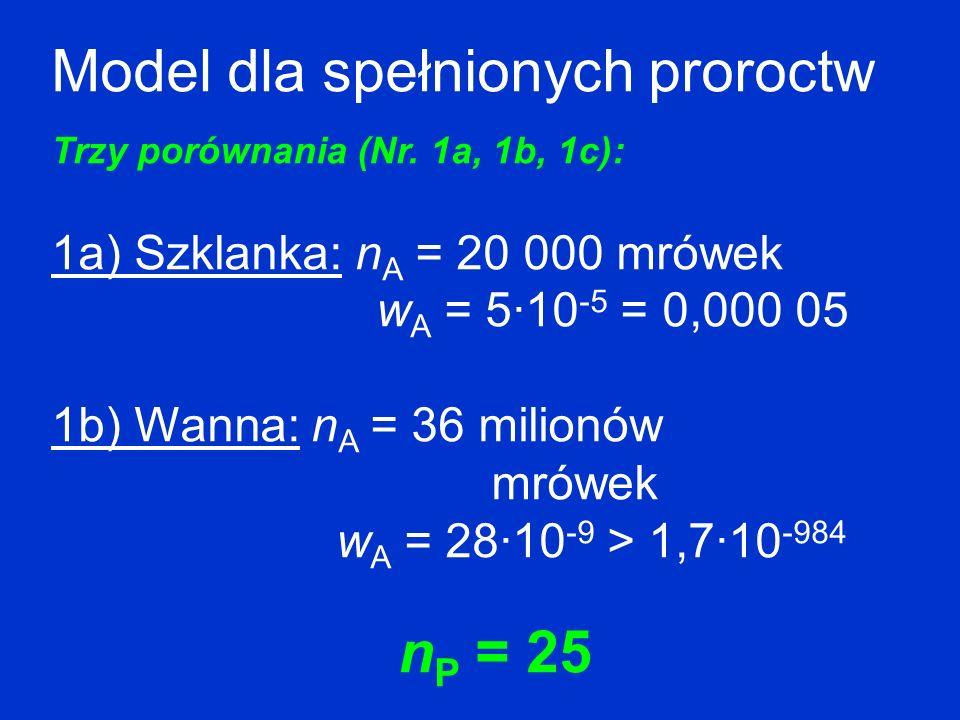 Model dla spełnionych proroctw Trzy porównania (Nr. 1a, 1b, 1c): 1a) Szklanka: n A = 20 000 mrówek w A = 5·10 -5 = 0,000 05 1b) Wanna: n A = 36 milion