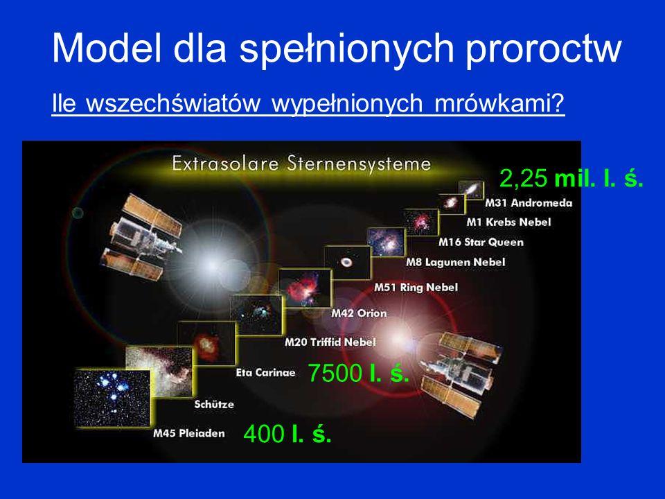 Model dla spełnionych proroctw Ile wszechświatów wypełnionych mrówkami? 2,25 mil. l. ś. 7500 l. ś. 400 l. ś.