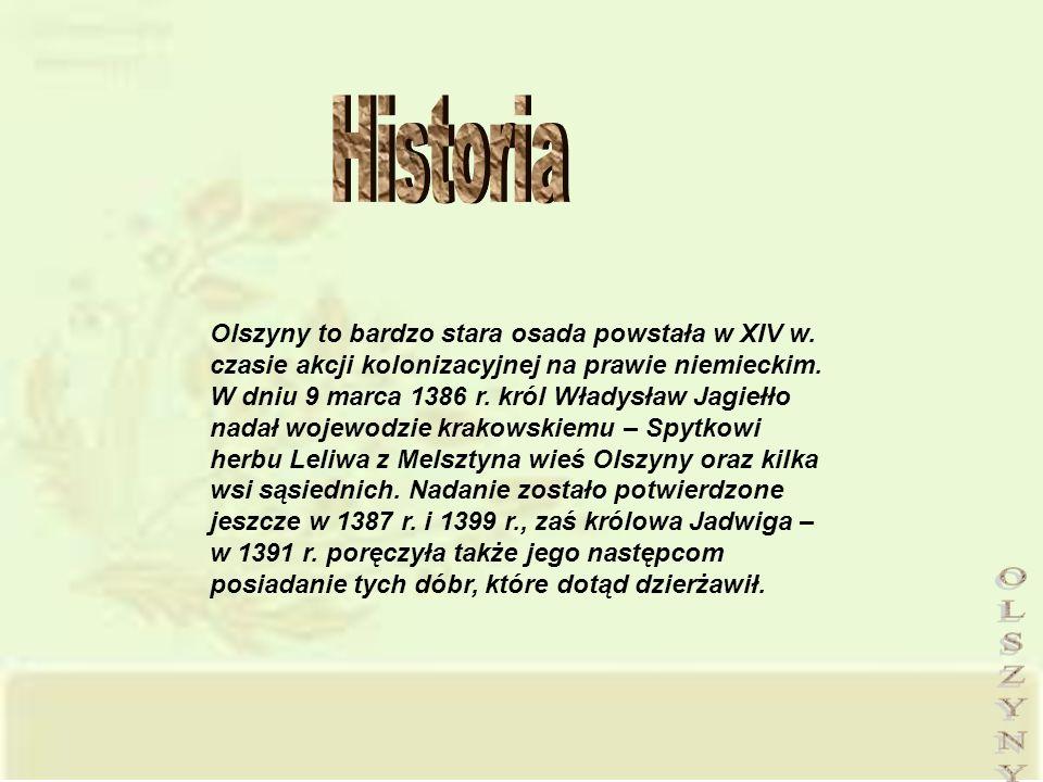 Olszyny to bardzo stara osada powstała w XIV w. czasie akcji kolonizacyjnej na prawie niemieckim. W dniu 9 marca 1386 r. król Władysław Jagiełło nadał