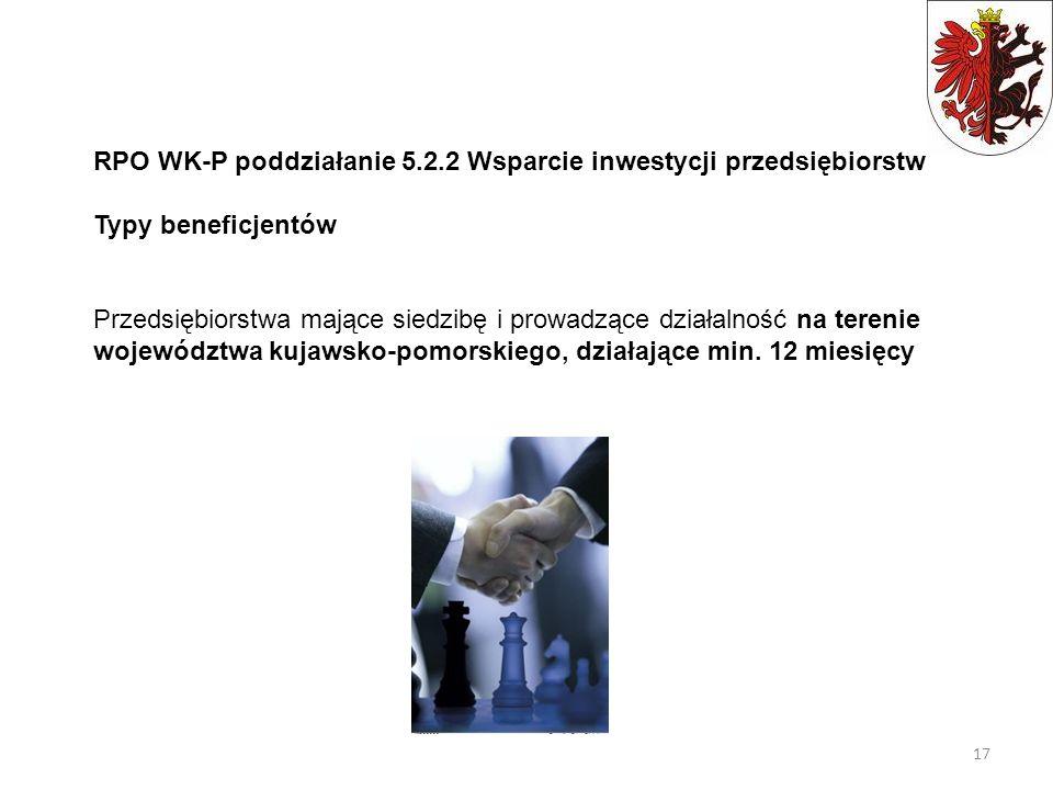 RPO WK-P poddziałanie 5.2.2 Wsparcie inwestycji przedsiębiorstw Typy beneficjentów Przedsiębiorstwa mające siedzibę i prowadzące działalność na tereni