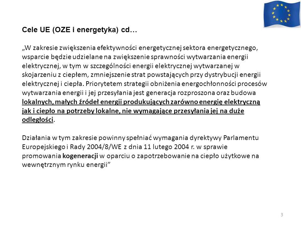 Cele UE (OZE i energetyka) cd… W zakresie zwiększenia efektywności energetycznej sektora energetycznego, wsparcie będzie udzielane na zwiększenie spra