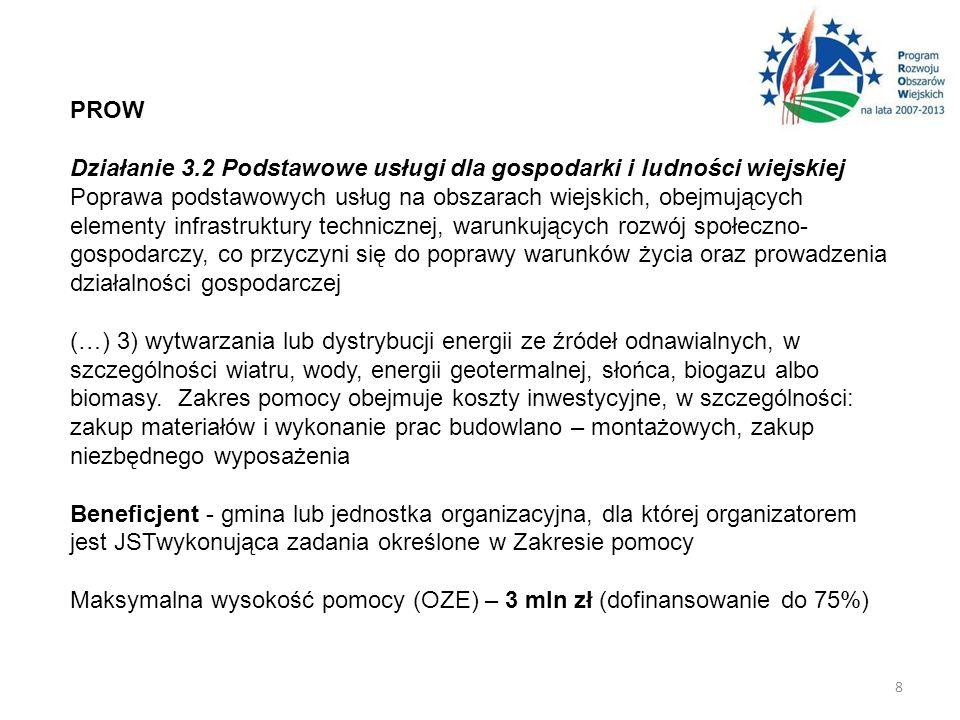 PROW Działanie 3.2 Podstawowe usługi dla gospodarki i ludności wiejskiej Poprawa podstawowych usług na obszarach wiejskich, obejmujących elementy infr