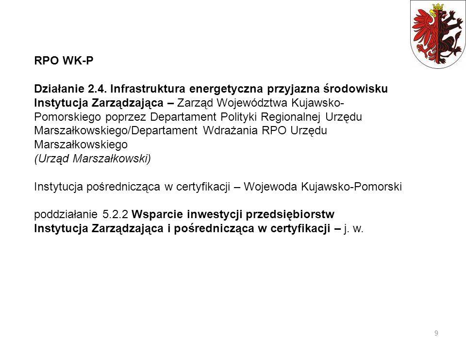 RPO WK-P Działanie 2.4. Infrastruktura energetyczna przyjazna środowisku Instytucja Zarządzająca – Zarząd Województwa Kujawsko- Pomorskiego poprzez De