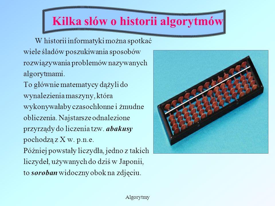 Algorytmy Kilka słów o historii algorytmów Pojęcie algorytm pochodzi od brzmienia fragmentu nazwiska arabskiego matematyka Muhammada ibn Musa al.- Cho