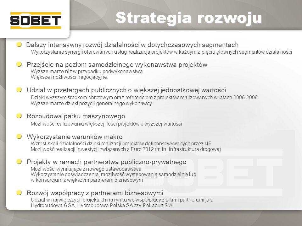 Strategia rozwoju Dalszy intensywny rozwój działalności w dotychczasowych segmentach Wykorzystanie synergii oferowanych usług, realizacja projektów w