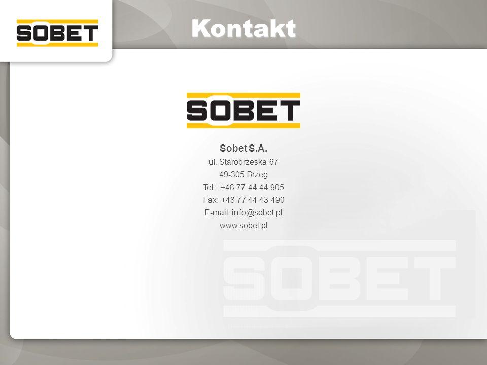 Kontakt Sobet S.A. ul. Starobrzeska 67 49-305 Brzeg Tel.: +48 77 44 44 905 Fax: +48 77 44 43 490 E-mail: info@sobet.pl www.sobet.pl