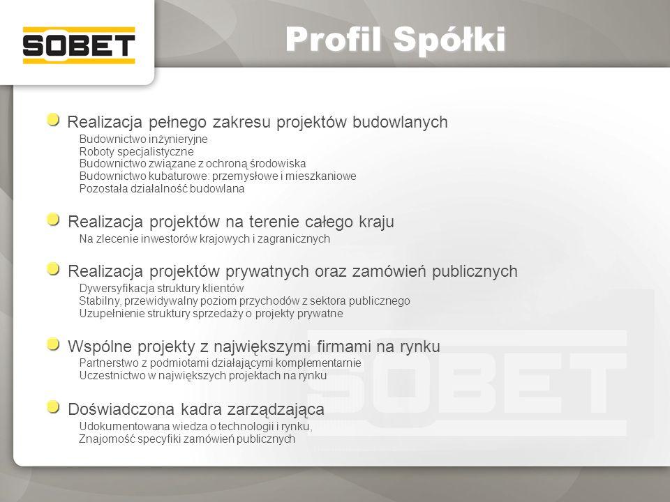 Profil Spółki Realizacja pełnego zakresu projektów budowlanych Budownictwo inżynieryjne Roboty specjalistyczne Budownictwo związane z ochroną środowis