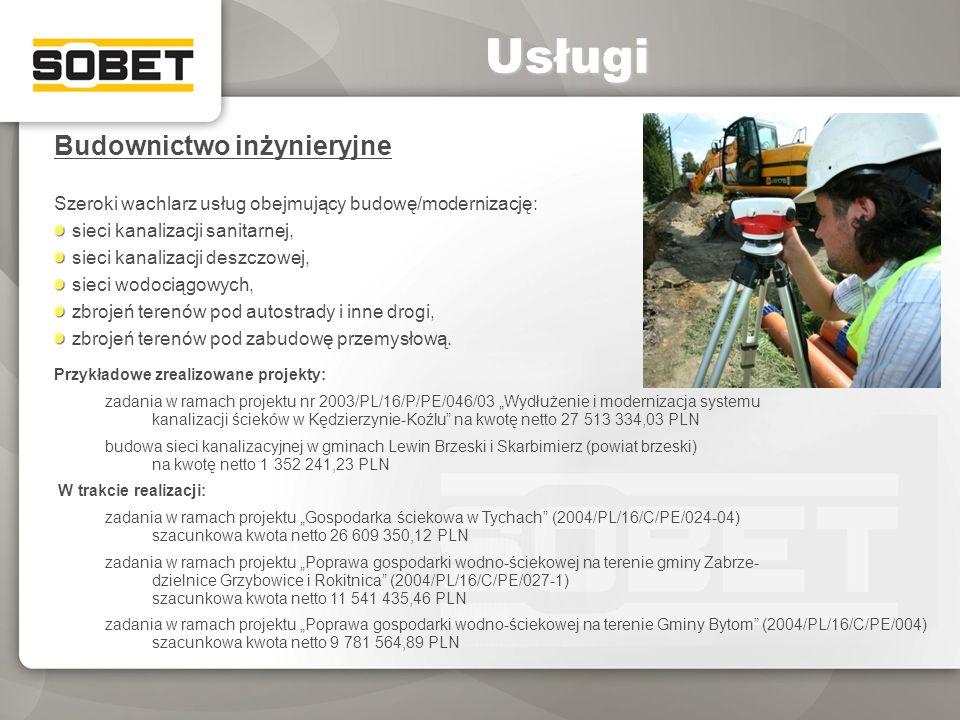 Budownictwo inżynieryjne Szeroki wachlarz usług obejmujący budowę/modernizację: sieci kanalizacji sanitarnej, sieci kanalizacji deszczowej, sieci wodo