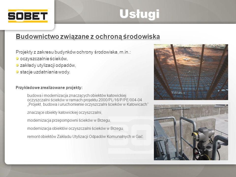 Budownictwo związane z ochroną środowiska Projekty z zakresu budynków ochrony środowiska, m.in.: oczyszczalnie ścieków, zakłady utylizacji odpadów, st