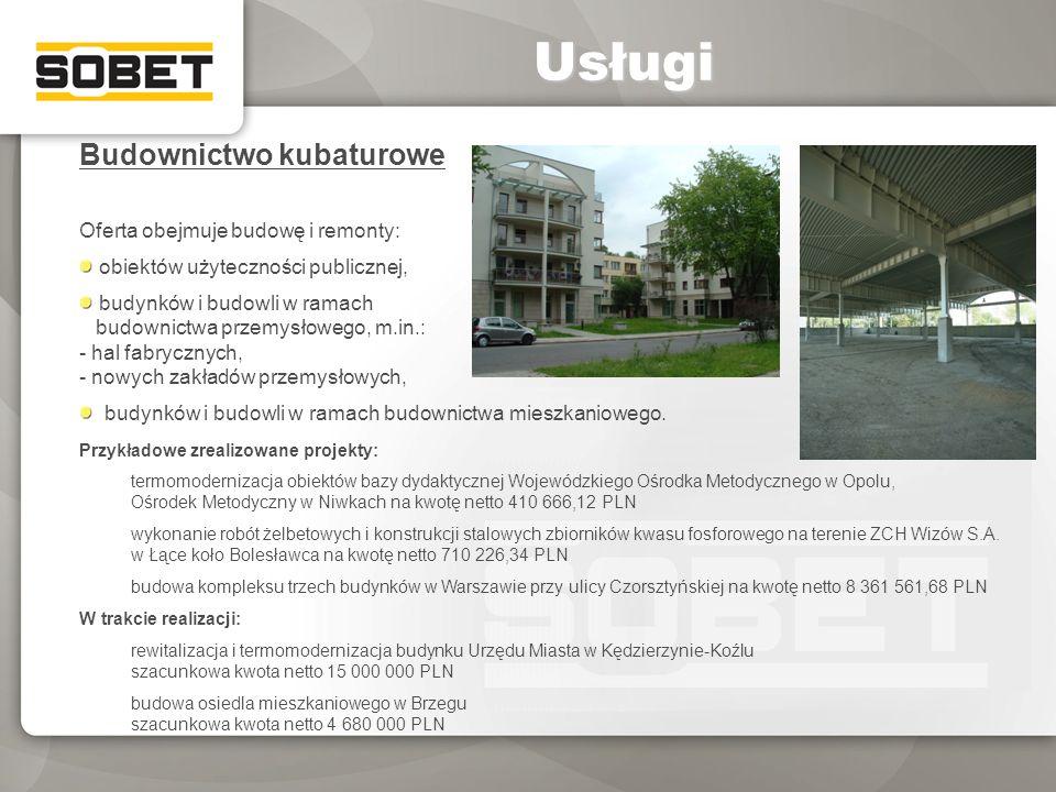 Budownictwo kubaturowe Oferta obejmuje budowę i remonty: obiektów użyteczności publicznej, budynków i budowli w ramach budownictwa przemysłowego, m.in