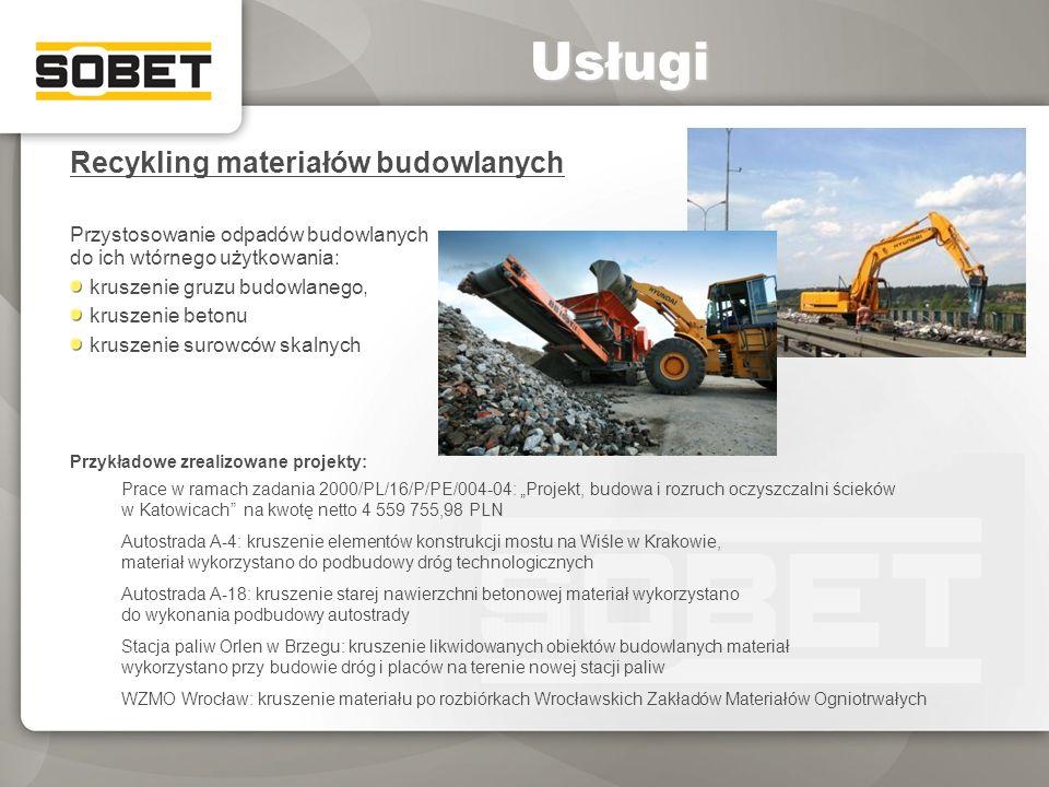 Recykling materiałów budowlanych Przystosowanie odpadów budowlanych do ich wtórnego użytkowania: kruszenie gruzu budowlanego, kruszenie betonu kruszen