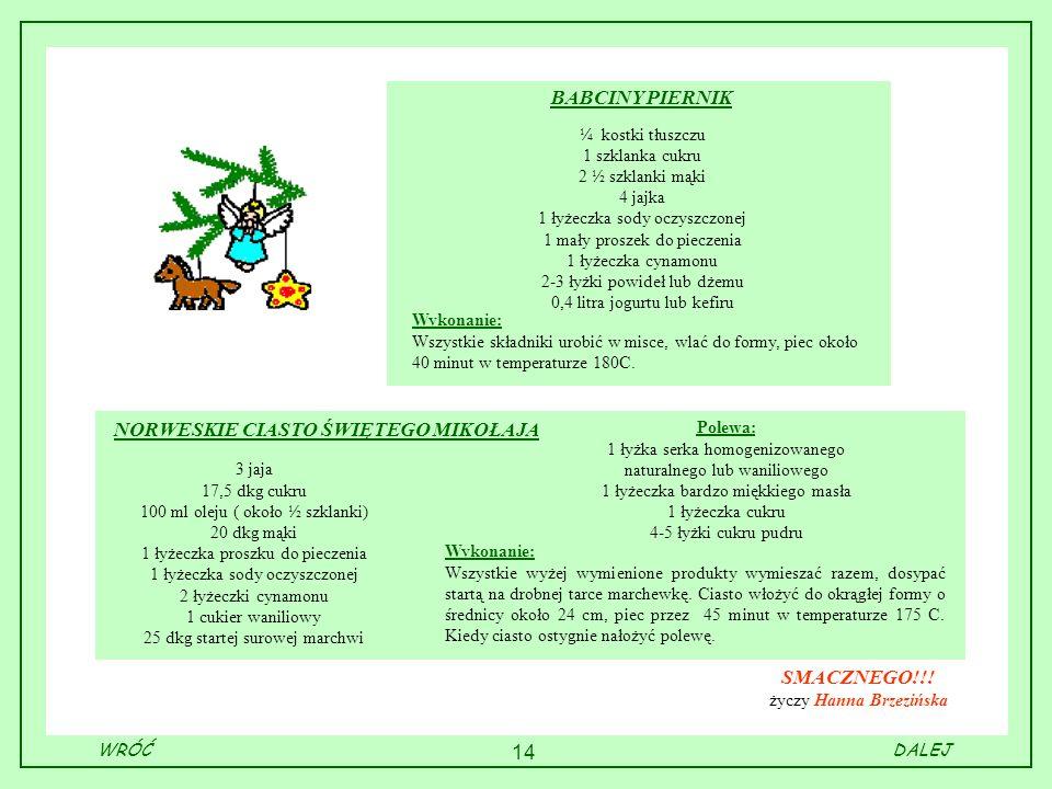 14 BABCINY PIERNIK ¼ kostki tłuszczu 1 szklanka cukru 2 ½ szklanki mąki 4 jajka 1 łyżeczka sody oczyszczonej 1 mały proszek do pieczenia 1 łyżeczka cy