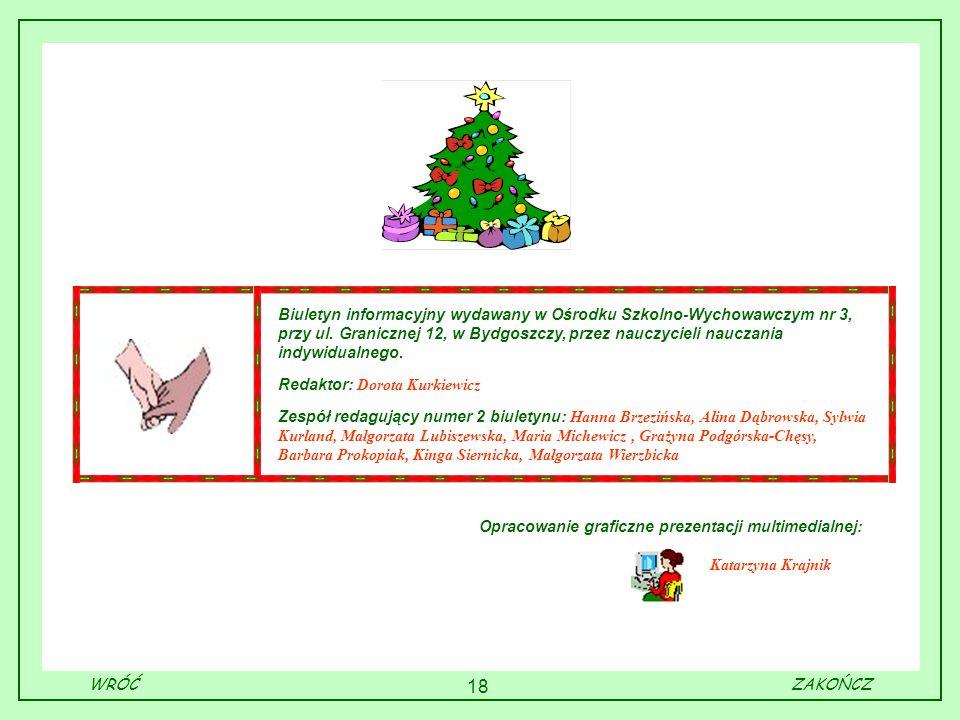 18 Biuletyn informacyjny wydawany w Ośrodku Szkolno-Wychowawczym nr 3, przy ul. Granicznej 12, w Bydgoszczy, przez nauczycieli nauczania indywidualneg