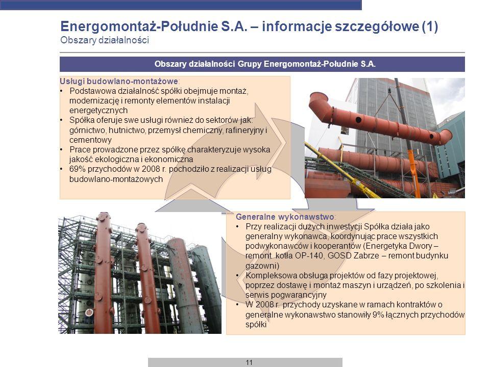 11 Energomontaż-Południe S.A. – informacje szczegółowe (1) Obszary działalności Usługi budowlano-montażowe: Podstawowa działalność spółki obejmuje mon