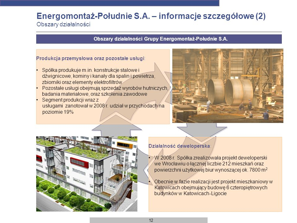 12 Energomontaż-Południe S.A. – informacje szczegółowe (2) Obszary działalności Produkcja przemysłowa oraz pozostałe usługi: Spółka produkuje m.in. ko