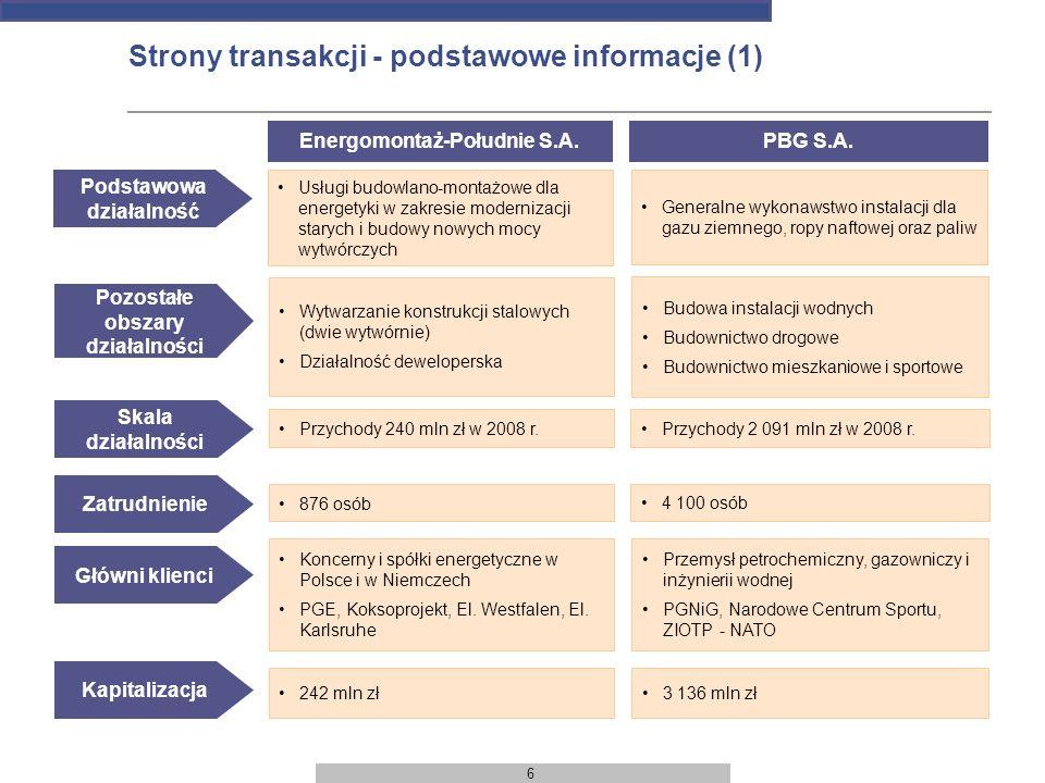 6 Strony transakcji - podstawowe informacje (1) Skala działalności Przychody 240 mln zł w 2008 r. Energomontaż-Południe S.A. Podstawowa działalność Us