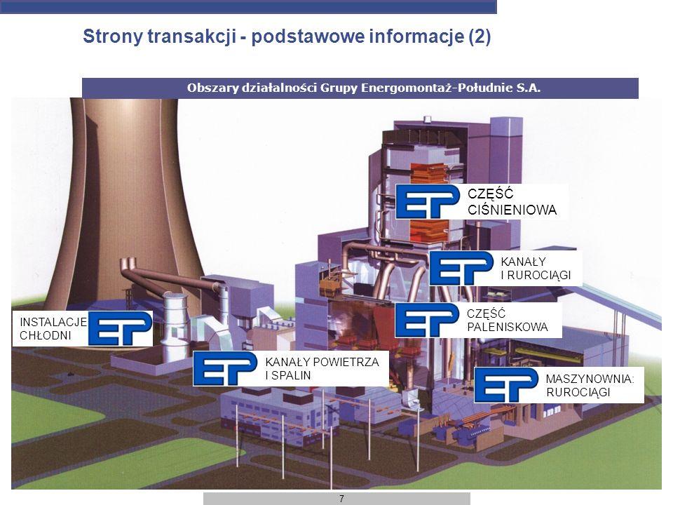 7 Strony transakcji - podstawowe informacje (2) Obszary działalności Grupy Energomontaż-Południe S.A. KANAŁY POWIETRZA I SPALIN INSTALACJE CHŁODNI CZĘ