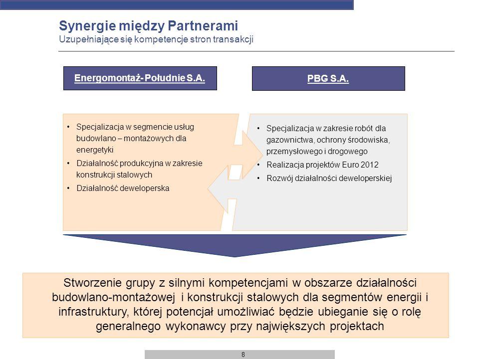 8 Synergie między Partnerami Uzupełniające się kompetencje stron transakcji Specjalizacja w segmencie usług budowlano – montażowych dla energetyki Dzi