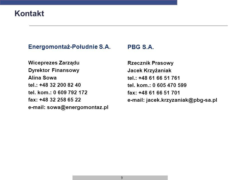 9 Kontakt Energomontaż-Południe S.A. Wiceprezes Zarządu Dyrektor Finansowy Alina Sowa tel.: +48 32 200 82 40 tel. kom.: 0 609 792 172 fax: +48 32 258